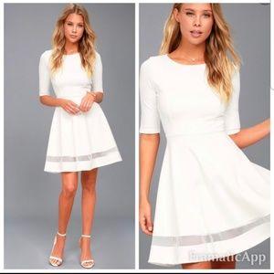 Lulu's Sheer Factor White Mesh Skater Dress